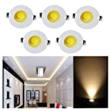 Elitlife 5Pack- 3W COB LED Mini Recessed Ceiling Downlight Kit 3000K Silver Aluminum Cover & Acrylic Mirror With LED Driver- ideal forliving room, bedroom,hallway,kitchen,office (Warm White)