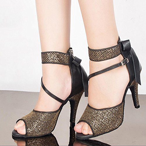 Women's Color Heel Black Satin amp; Dance Hollow Shoes Out Heel Sneaker Latin Buckle Practice 35 Evening Party Flared 39 Sandal Shoes rArWU
