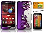 LF Purple Vine Designer Hard Case Cover, Stylus Pen, Screen Protector & Wiper For Verizon Motorola Droid Razr M XT907 Razr i XT890 (Designer Purple Vine)