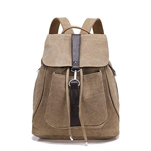 Toile Backpack Femme Minetom Multi Loisir Ceinture Unie À Fonction Pratique Voyages Dos Sac Couleur Réglage Kaki Scolaire 6qIF6