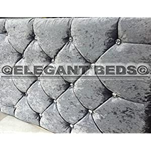 Elegant Beds MARKET STYLE Headboard in Crushed Velvet WITH DIAMONDS Cheapest (4FT6 Double, Silver)