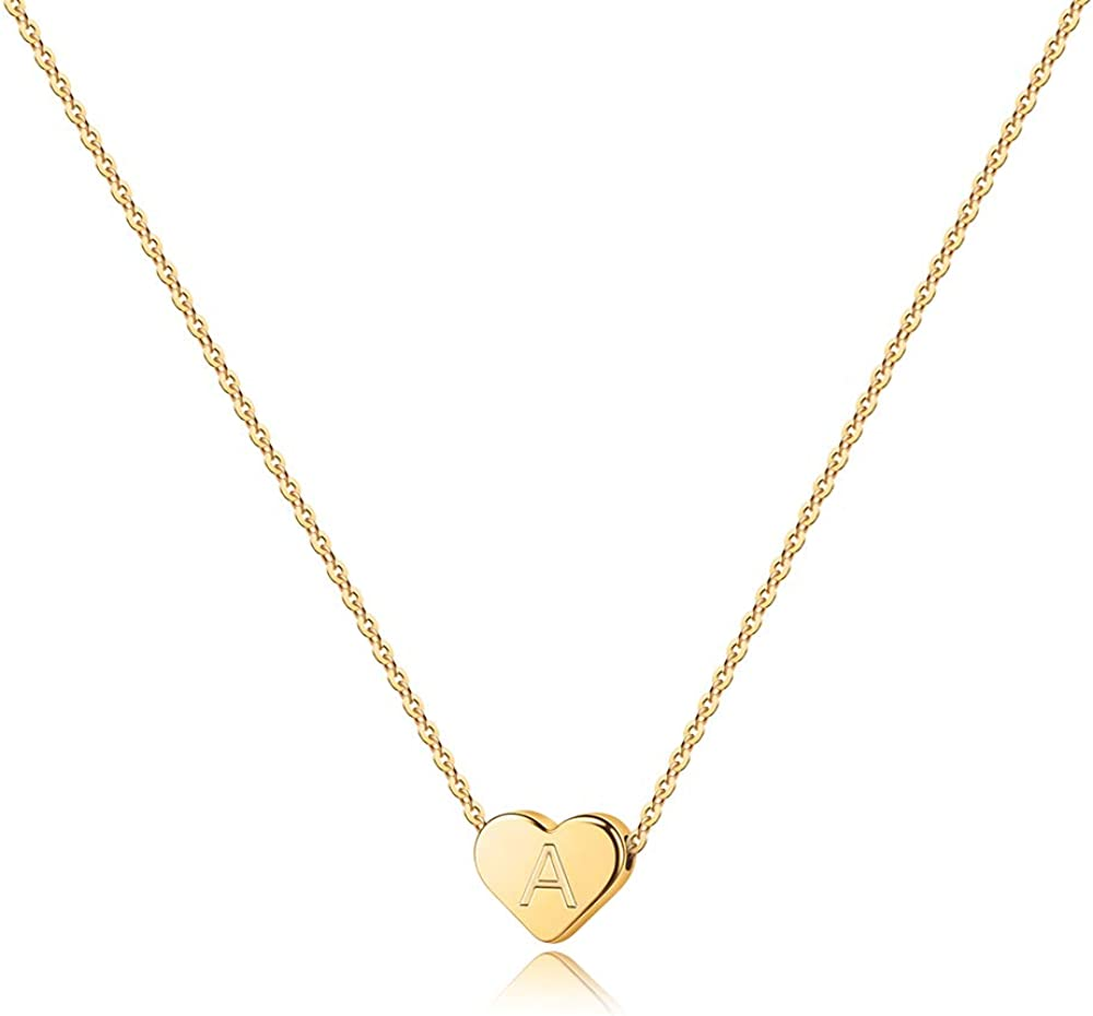 Amazon Com Turandoss Tiny Initial A Necklace For Girls 14k Gold Filled Heart Initial A Necklaces For Women Girls Tiny Initial Necklace For Girls Kids Heart Initial Necklace Gifts For Women Girls