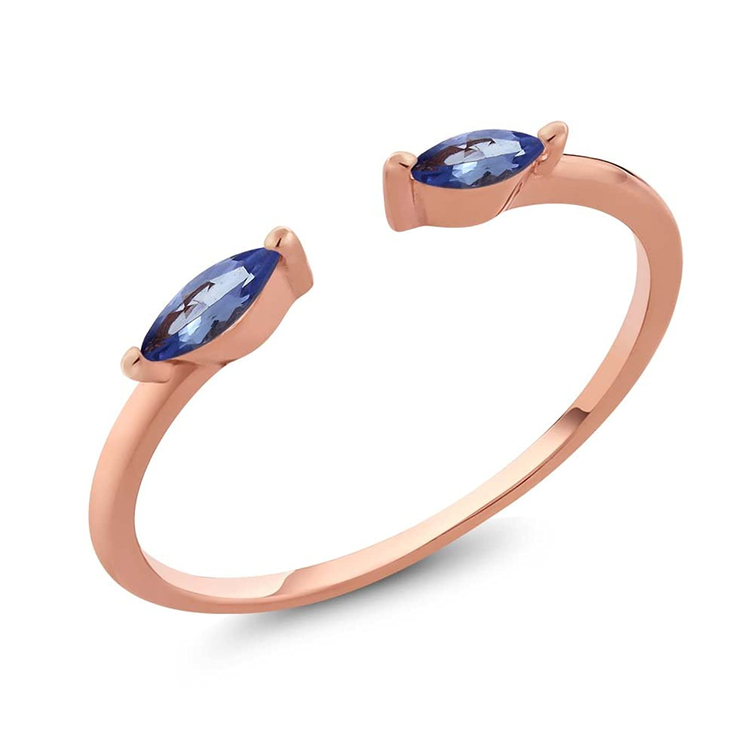 0.30 Ct Marquise Natural Blue Tanzanite 10K Solid Rose Gold Ring