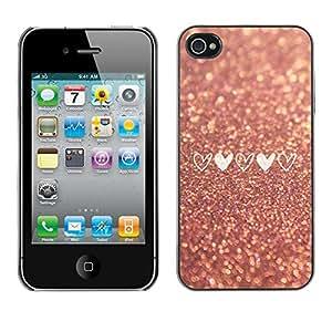 Glitter Asfalto amor del corazón del brillo del oro - Metal de aluminio y de plástico duro Caja del teléfono - Negro - iPhone 4 / 4S