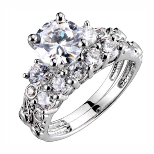 Sterling Silver 3 Stone 1.9 Carats Cubic Zirconia Antique Style Engagement Ring Set SPJ