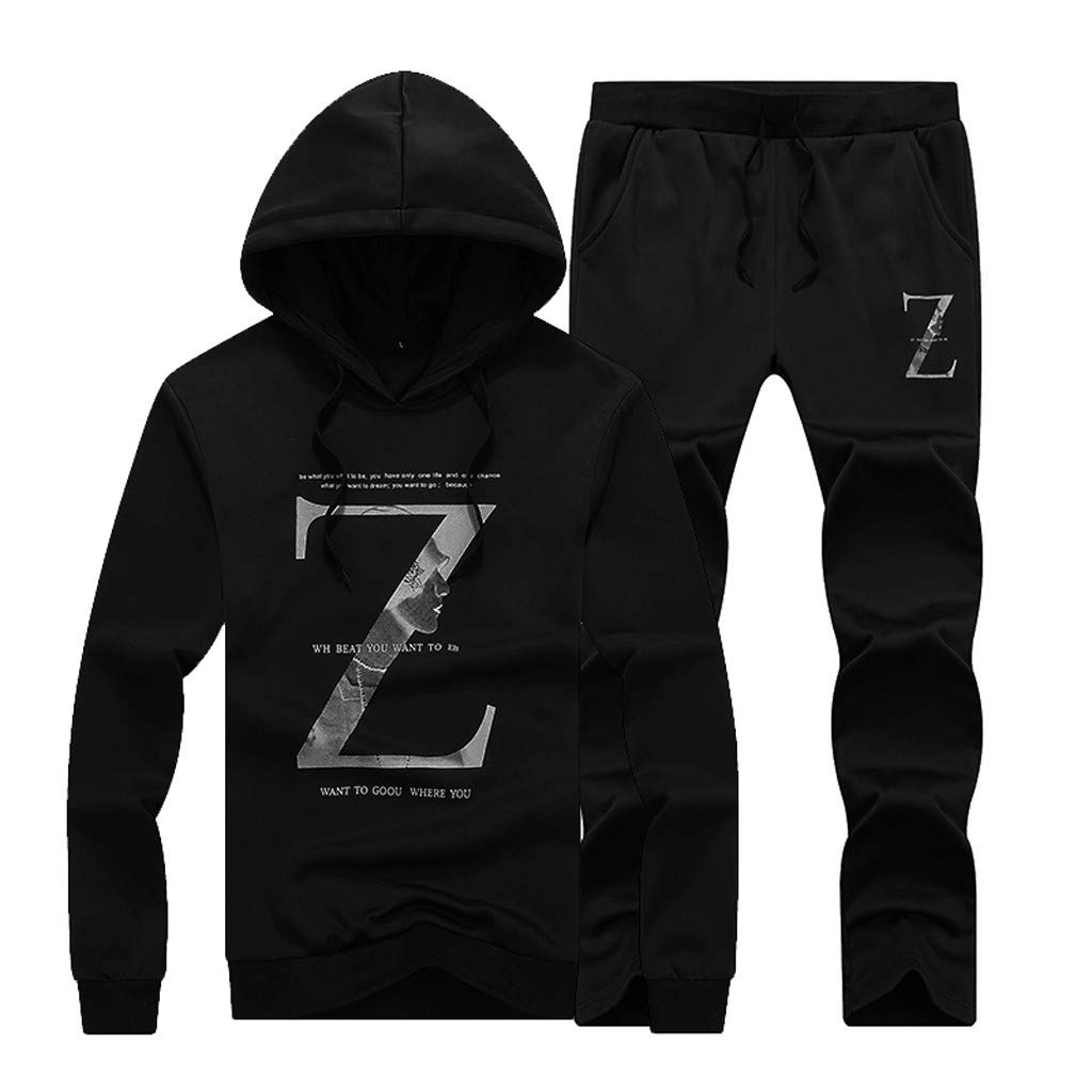 Triskye Mens Casual Sportswear Set Long Sleeve Alphabetic Printing Hoodie Sports Suit Tops+Long Pants Set