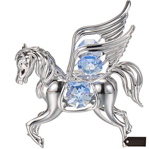 Matashi Silver Chrome Pegasus Ornament with Blue Crystals (Crystal Pegasus)