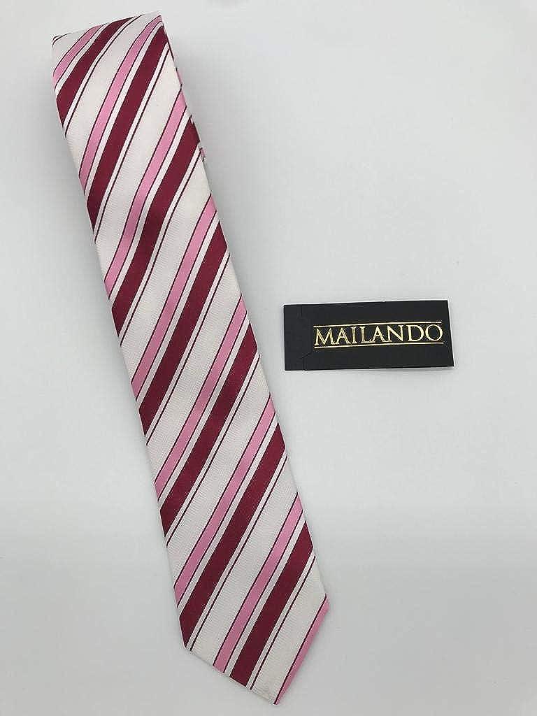Mailando - Corbata - Rayas - para hombre rosa gris: Amazon.es ...