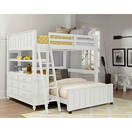 Amazoncom Ne Kids Lake House Full Loft Bed With Full Lower Bed In