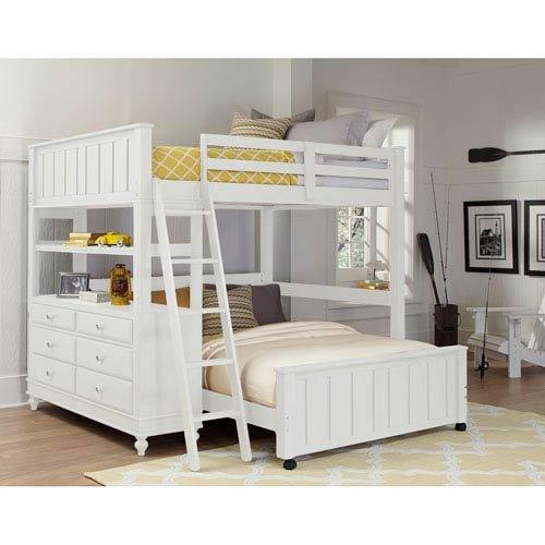 NE Kids Lake House Full Loft Bed with Full Lower Bed in White