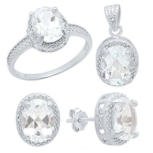 (Dazzlingrock Collection Sterling Silver Oval White Topaz & Round Diamond Accent Halo Engagement Ring, Earring & Pendant Set)