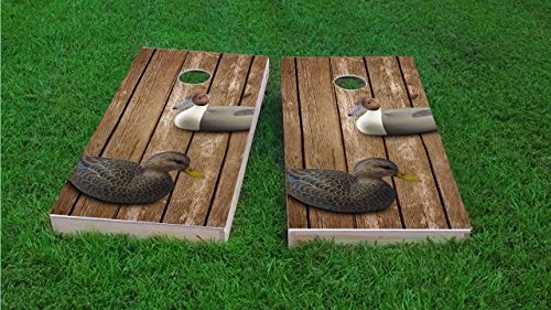 Floating Pong Wood Slat Duck Decoy Cornhole Set, 2x4, 1x4 Frame (25% Lighter), Wood, Hand Painted, All Weather ()