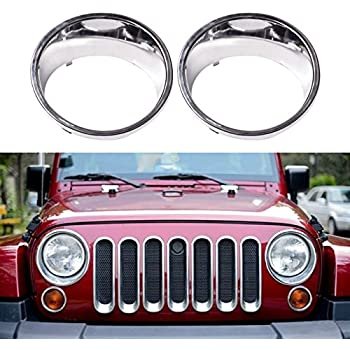 Diytunings Chrome Plated Abs Headlight Bezels For Jeep Wrangler Jk Jku Unlimited