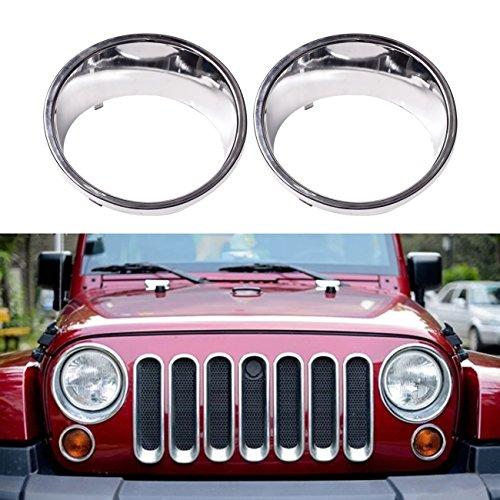 DIYTUNINGS Chrome Plated ABS HeadLight Bezels For Jeep Wrangler JK JKU Unlimited  Rubicon Sahara X Off