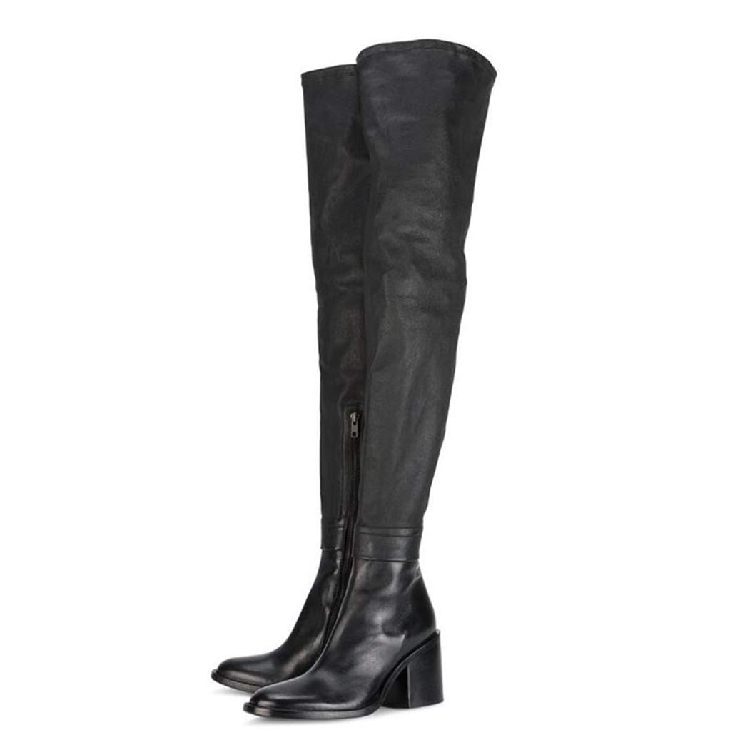 Black Winter Women Boots Genuine Leather+Stretch Fabrics Pointed Toe Thick Heel Women High Heel shoes Sexy Boots
