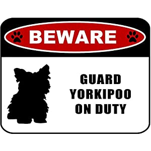 Beware Guard Yorkipoo (silhouette) on Duty 11.5 inch x 9 inch Laminated Dog Sign 2