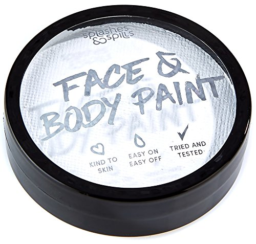 Water Activated Face and Body Paint - White, 18g Cake Tub - Pretend Costume and Dress Up Makeup by Splashes & Spills -