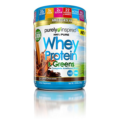 Purely Inspired 100% Theoretical Whey & Greens, Pure Whey Protein Powder, Decadent Chocolate, 1.5 Pounds