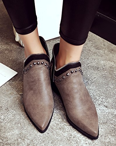 Aisun Womens Stylish Studded Pointed Toe Block Medium Heels Slip On Ankle Boots Shoes Brown 7pHjI6p4jr