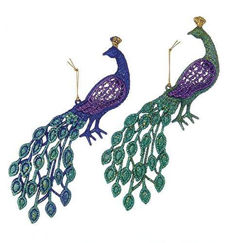 Glittered Peacock Christmas Tree Ornaments, Aqua/Purple, 4-1/2-Inch, 2-Piece