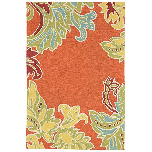 Rug Transitional Leaves - Liora Manne Ravella Ornametal Leaf Bdr Indoor/Outdoor Rug Orange 5'X7'6