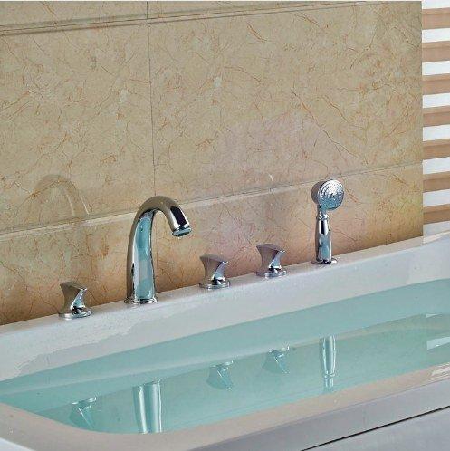 Gowe Bathroom 5pcs Shower Set Brass Chrome Polish Tub Tap Three Handles With Hand Shower Mixer Taps 4