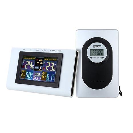 Hzjundasi Termómetro digital inalámbrico LCD Reloj de estación meteorológica para interior / exterior