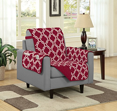 Austin Reversible Solid/Print Microfiber Furniture Protector With Strap & Side Pockets