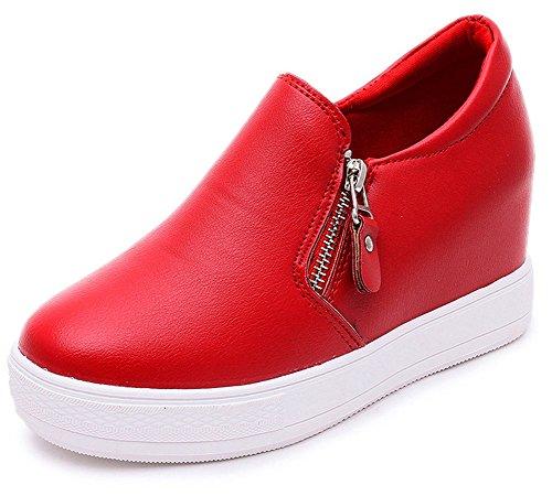 Maybest Femmes Fermeture À Glissière Pu En Cuir Cheville Bottes Dames Wedge Formateurs Espadrilles Chaussures De Plate-forme Rouge