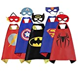 ROMASA Cartoon Capes for Kids with Felt Masks and Drawstring Bag-5 PCS Best Halloween Birthday Dress up Costume for Kids