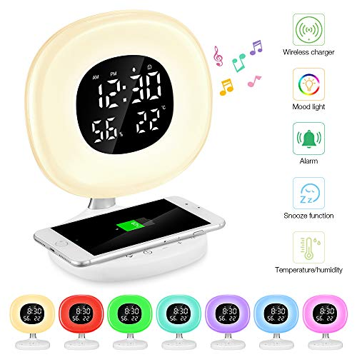 Light Alarm Clock Natural (Wake Up Light Sunrise Alarm Clock with Wireless Charger, PAVLIT 7 Colors Alarm Clock with Temperature and Humidifier Dimmable LED Display, Touch Control, Snooze Function, 10 Dimming Brightness Levels)