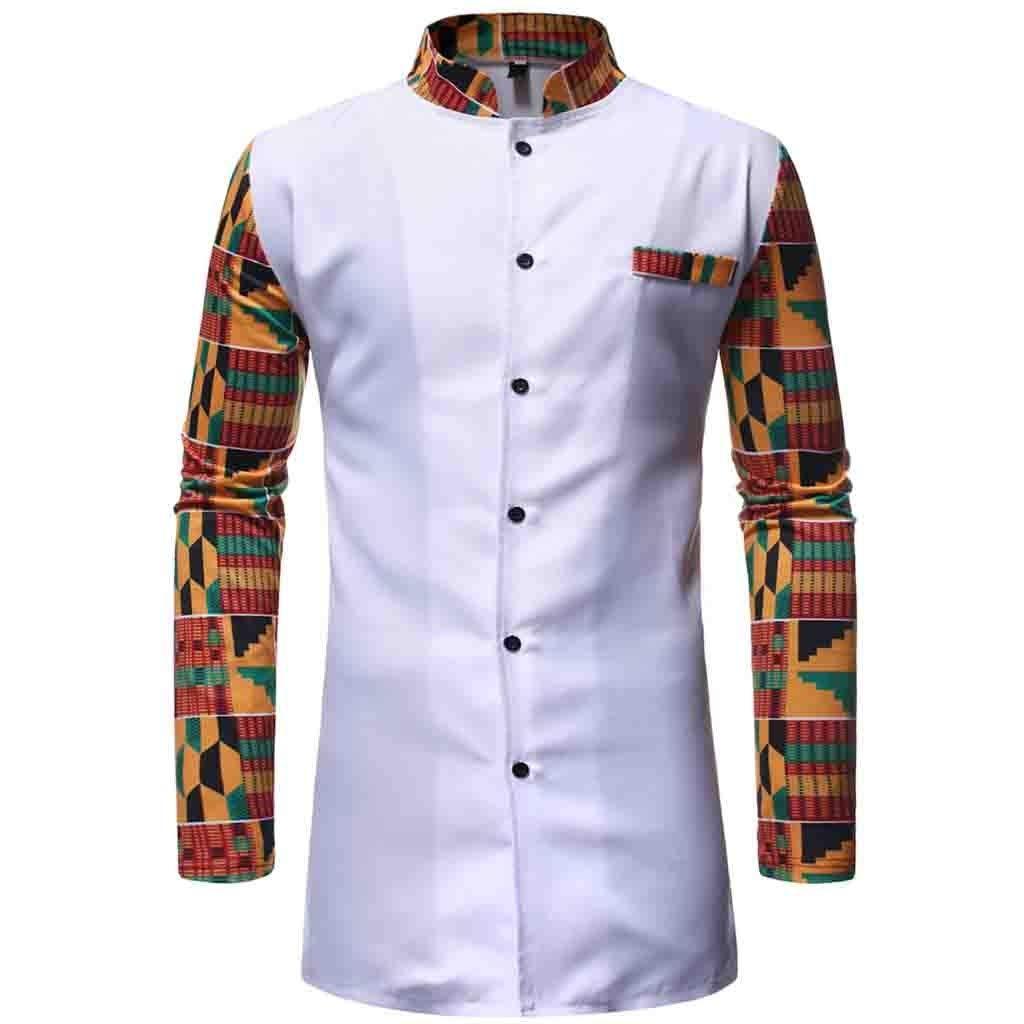 MODOQO Long Sleeve African Shirt for Men,Tribal Printed Slim Fit Medium Length Shirt Set(White,CN-2XL/US-L) by MODOQO