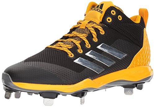 Gold Glove 2 Baseball Display (adidas Performance Men's PowerAlley 5 Mid Baseball Shoe, Core Black, Silver Met, Collegiate Gold, 10.5 M US)