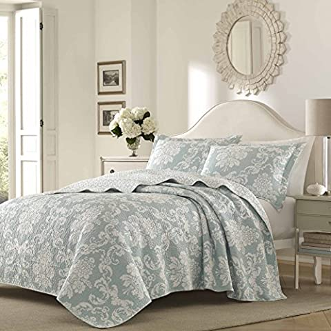 3 Piece Blue Damask Full Queen Size Quilt, Beautiful Floral White Grey Bohemian Motif Chic, Flowers Cottage Cabin Lake House, Vintage Victorian Indie Modern, Reversible Bedding, - Cottage Flower Bedding