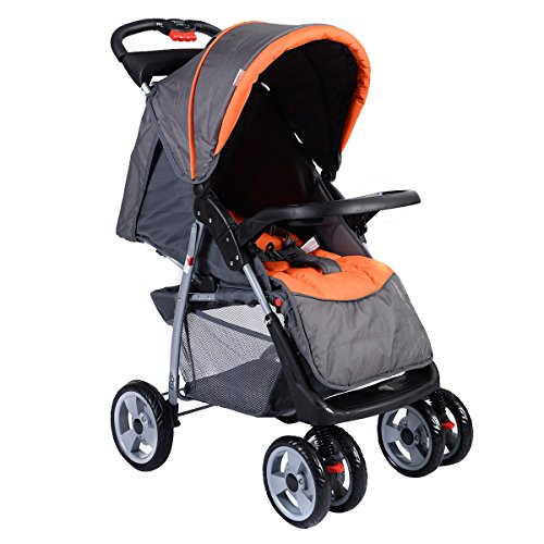 Costzon Foldable Baby Kids Travel Stroller Newborn Infant Buggy Pushchair Child Gray