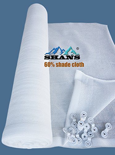 SHANS 30%~60% UV Resistant Fabric Shade Cloth Pure White ( With Clips Free) (60% 10ft x 6ft)