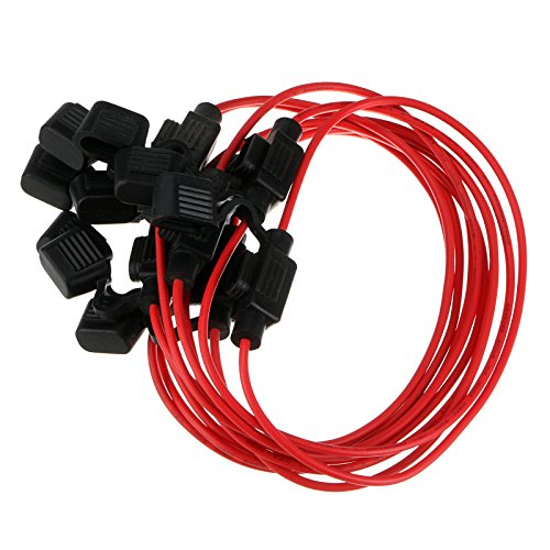 Huayao 10 Pack Fuse Adapter Car Add-a-circuit Inline Blade Fuse Holder for Mini ATM APM Blade Fuse 12V/24V/32V 18AWG Waterproof