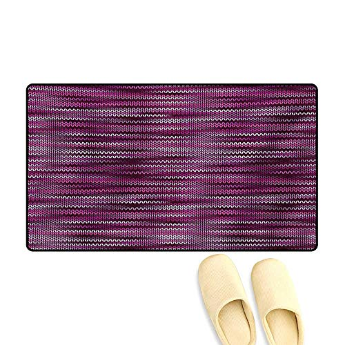 Door Mats,Vintage Knit Pattern Featured Variations of Pink Tone Nostalgic Vibrant Art,Customize Bath Mat with Non Slip Backing,Violet Fuchsia,32
