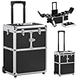Eight24hours 19'' Aluminum Makeup Rolling Train Case Lockable Cosmetic Wheeled Box w/ Hand - Black + FREE E-Book