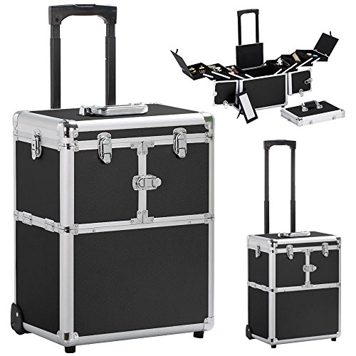19'' Aluminum Makeup Rolling Train Case Lockable Cosmetic Wheeled Box w/ Hand - Black By Allgoodsdelight365 by allgoodsdelight365
