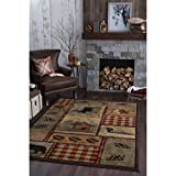 5'3×7'3 Black Green Red Southwest Cabin Bear Area Rug Rectangle Shaped, Indoor Tan Moose Lodge Carpet For Living Room Rustic Southern American Cottage Forest Woods Animal Nature Wildlife,Polypropylene Review
