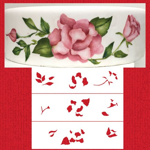 Multi-layer Painted Roses Cake Stencil by Designer Stencils