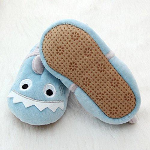 Sunnyoyo 0-2 Jahre alt Kleinkind-Baby-Jungen-nette weiche Karikatur-Entwurfs-Erwärmungs-Krippe beschuht Haushalts-Schuh Blau