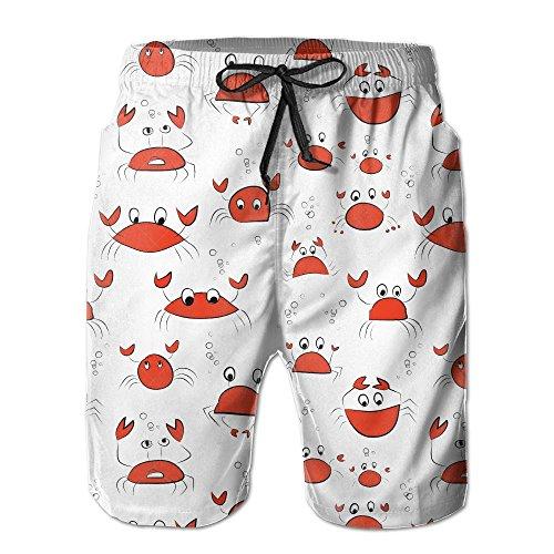 Macadamd Mens Slim Fit Quick Dry Printed Board Shorts Lovely Crab Cartoon Beachwear Sports Swim Trunks