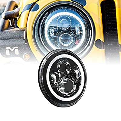 ONLINE LED STORE 7 Inch Round LED Headlight For Harley Davidson Motorcycles H4 45W Cold White HALO Turn Signal & DRL Sealed Beam Assembly