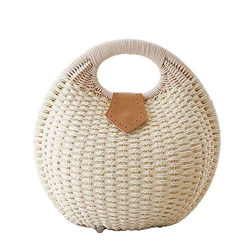Personnalité des femmes Myll mignon sac en rotin sac à bandoulière Casual main rétro, brun blanc