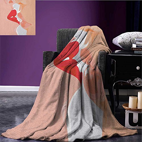 """Top Kiss park blanket Close Up View of a Kissing Man and Woman Romance Passion Attraction Seduction Theme soft blanket Peach Red size:51""""x31.5"""" free shipping"""