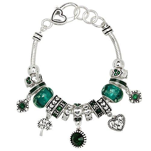 Birthstone Bracelet Multi-Color Charm Beads Silvertone May