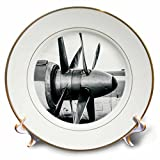 3dRose Alexis Photography - Abstracts of Aviation - Twin propellers of a vintage turboprop aircraft in black and white - 8 inch Porcelain Plate (cp_272037_1)