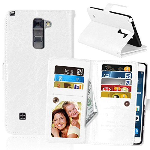 LG G Stylo 2 Case, SUMOON Luxury Fashion PU Leather Magnet Wallet Credit Card Holder Flip Case Cover with Built-in 9 Card Slots & Stand For LG G Stylo 2 / LG Stylus 2 LS775 (White) (Insert Fashion Ring)